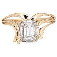 0.50ct Emerald Cut Diamond Ring 60s Vintage 14 Karat Yellow Gold Estate Jewelry 6.5