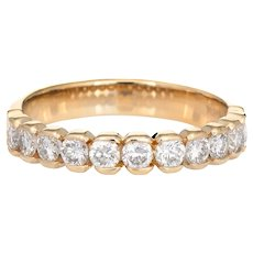 1ct Diamond Half Hoop Band Vintage 14 Karat Yellow Gold Sz 7 Wedding Stacking Ring