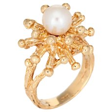 Vintage Sputnik Ring Cultured Pearl 14 Karat Yellow Gold Estate Fine Jewelry Sz 6