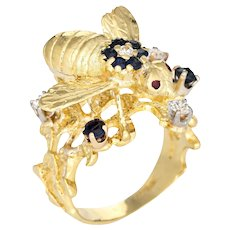Vintage Gemstone Bee Ring 18 Karat Yellow Gold Diamond Sapphire Honeycomb Jewelry