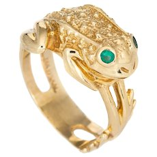 Vintage Frog Ring 14 Karat Yellow Gold Sz 8 Webbed Feet Estate Jewelry Spirit Animal