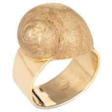 Vintage Snail Shell Ring 14 Karat Yellow Gold Estate Fine Jewelry Sea Life Marine 6