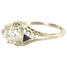 Vintage Art Deco Diamond Sapphire Filigree Ring Vintage 18 Karat White Gold Jewelry