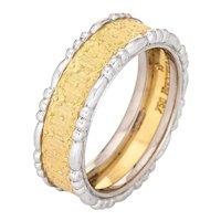 Buccellati Prestigio Band Vintage 18 Karat Yellow Gold Ring 5 Estate Signed Jewelry