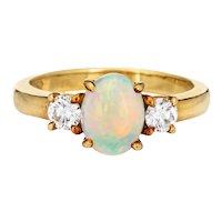 Vintage Tiffany & Co Opal Diamond Ring Sz 5.5 Estate Fine Signed Jewelry