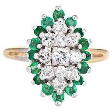 Emerald Diamond Cluster Ring Vintage 14 Karat Gold Estate Sz 4 Pinky Fine Jewelry