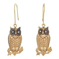 Vintage Owl Drop Earrings 14 Karat Yellow Gold Diamond Eyes 1.75 Inch Estate Jewelry