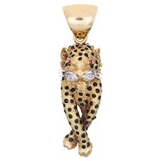 Leopard Pendant Vintage 18 Karat Yellow Gold Diamond Ruby Eyes Black Enamel Animal