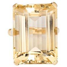 30ct Light Lemon Citrine Ring Emerald Cut Vintage 14 Karat Yellow Gold Big Cocktail
