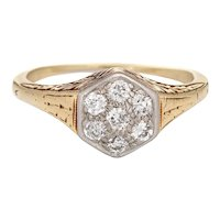 Vintage Art Deco Diamond Cluster Ring 14 Karat Yellow Gold Hexagon Estate Jewelry 6.5