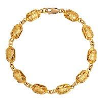 "Vintage Scarab Beetle Bracelet 18 Karat Yellow Gold Egyptian Jewelry 7"" Fine Renewal"