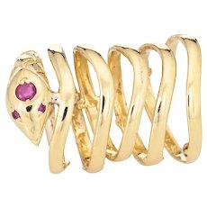 Snake Wrap Ring 6 Bands Vintage 18 Karat Yellow Gold 5 Serpent Fine Estate Jewelry