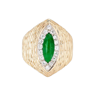 Vintage 70s Jade Ring 14 Karat Yellow Gold Estate Fine Jewelry Marquise Cut Sz 5