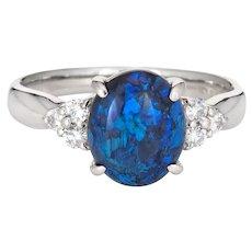 1.67ct Black Opal Diamond Ring Estate Platinum Sz 7 Fine Cocktail Jewelry