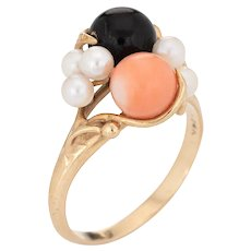 Coral Onyx Pearl Ring Vintage Cocktail 14 Karat Yellow Gold Estate Fine Jewelry 6.5