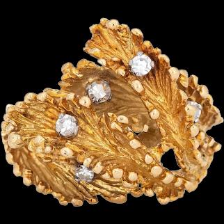 Abstract Diamond Ring 70s Vintage 18 Karat Yellow Gold Sz 6.5 Estate Fine Jewelry