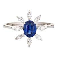 1ct Royal Blue Sapphire Diamond Ring Estate 18 Karat White Gold Gemstone Engagement