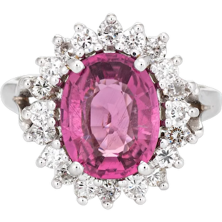 2.45ct Pink Tourmaline Diamond Ring Vintage 14 Karat White Gold Cocktail Jewelry 5.25