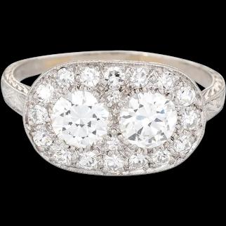 Vintage Art Deco 1.92ct Diamond Ring Platinum Sz 7.75 Estate Fine Jewelry Oval