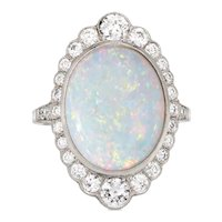 Natural Opal Diamond Ring Platinum Vintage Large Oval Cocktail Estate Jewelry 7