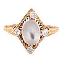 Vintage Art Deco Moonstone Diamond Ring 14 Karat Yellow Gold Estate Fine Jewelry 6.75