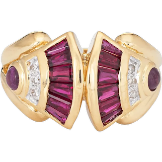 Ruby Diamond Band Vintage 80s 18 Karat Yellow Gold Ring Estate Fine Jewelry Sz 6.25