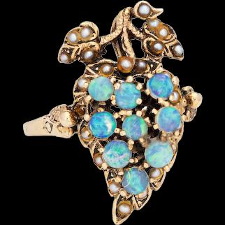 Opal Grape Leaf Ring Vintage 14 Karat Yellow Gold Estate Fine Jewelry Seed Pearls 8.5