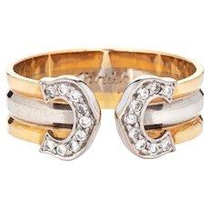 Double C de Cartier Ring Diamond Vintage Sz 51 US 5 3/4 18 Karat Tri Gold with COA