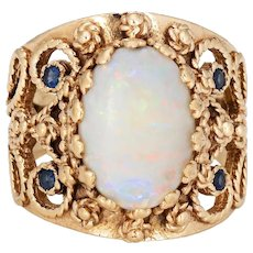 Opal Cigar Ring Vintage 14 Karat Yellow Gold Sz 8 Wide Band Sapphire Fine Jewelry