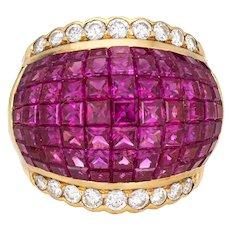5.50ct Invisible Set Ruby Diamond Ring Vintage 18 Karat Yellow Gold Cigar Band 7.5