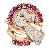Retro Diamond Ruby Ring 14 Karat Rose Gold Large Cocktail Jewelry Fine Estate Sz 6.5