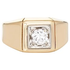Vintage Diamond Signet Ring Sz 4.5 Square Pinky Band 10k Yellow Gold Jewelry