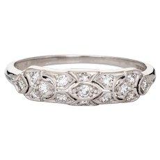 Granat Bros Diamond Band Vintage Art Deco Platinum Ring Sz 8 Estate Jewelry