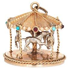 Vintage Carousel Charm 14 Karat Gold Merry Go Round Ride Pendant Mechanical Moves
