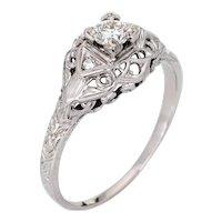 Art Deco Diamond Engagement Ring 18 Karat White Gold Vintage Fine Jewelry Sz 7.75