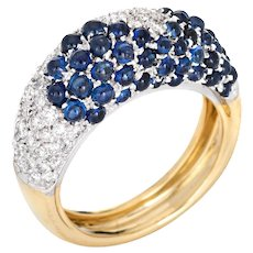 Cabochon Sapphire Diamond Band Sz 6 Vintage 18 Karat Yellow Gold Ring Fine Jewelry