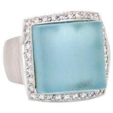 Frosted Blue Topaz Diamond Cube Ring Vintage 18 Karat Gold Jewelry Satin Finish 6.25