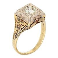 Vintage Art Deco 0.65ct Diamond Ring 18 Karat Gold Etched Square Engagement Band 6.5