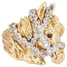 Vintage Horse Ring Diamond Ruby 14 Karat Yellow Gold Fine Animal Jewelry Sz 6.25
