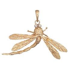 Dragonfly Pendant Vintage 14 Karat Yellow Gold Diamond Eyes Estate Fine Jewelry Bug