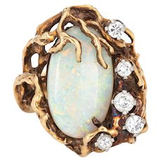 70s Abstract Opal Diamond Ring Vintage 14 Karat Yellow Gold Cocktail Jewelry Sz 5