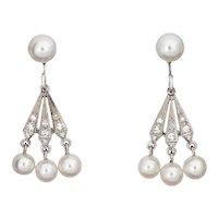 Cultured Pearl Diamond Fan Drop Earrings Vintage 14 Karat White Gold Estate Jewelry