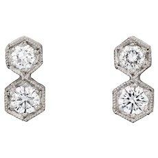 Cathy Waterman Hexagonal Diamond Stud Earrings Platinum Fine Estate Jewelry