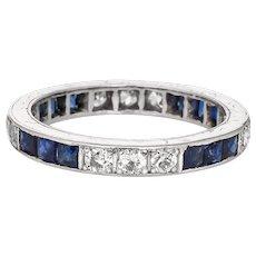 Vintage Art Deco Diamond Sapphire Ring Sz 4 Platinum Wedding Band Eternity