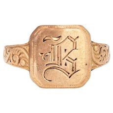 Antique Victorian Square Signet Ring Letter B 10 Karat Gold Sz 4 Pinky Band Initials
