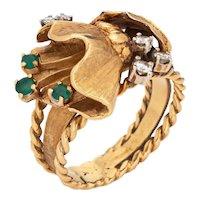 Vintage 60s Diamond Flower Leaf Ring 18 Karat Yellow Gold Estate Fine Jewelry Sz 7