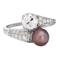 Vintage Art Deco Diamond Pearl Ring Moi et Toi Platinum Sz 5.75 Engagement Band