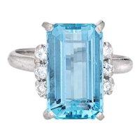 6ct Aquamarine Diamond Ring Vintage Gemstone Engagement Platinum Sz 5.75