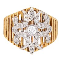Diamond Cigar Ring Vintage 14 Karat Yellow Gold Wide Band Sz 6 Estate Fine Jewelry