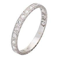 Vintage Art Deco Diamond Eternity Ring Sz 7.5 Platinum Etched Wedding Band